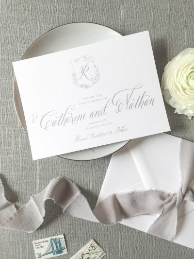The Crest suite is a set of semi-custom invitations that feature a hand drawn floral crest and monogram. Pieces include the crest invitation, crest response card, crest enclosure card, and the crest save the date. Letterpress, foil, and digital printing available. | wedding invitations by Little Fox Paperie | Gracie Nunez