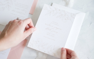Once production is complete, I will assemble and package up your custom wedding invitations to ship to you. | Photo by Alexandra Lee Photo | Custom wedding stationery by Little Fox Paperie | Chicago, Illinois | Gracie Nunez