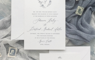 The Laurel suite is a set of semi-custom invitations that feature a hand drawn laurel, monogram, and greenery accents. Pieces include the laurel invitation, laurel response card, laurel enclosure card, and laurel save the date. Letterpress, foil, and digital printing available. | Custom wedding invitations by Little Fox Paperie | Gracie Nunez
