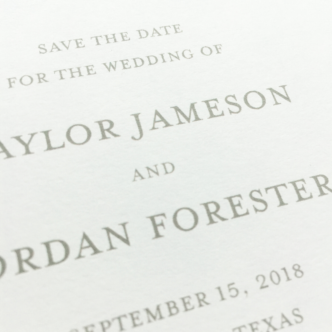 Little Fox Paperie provides three different wedding invitation printing methods. Digital printing is a common and cost effective print method.