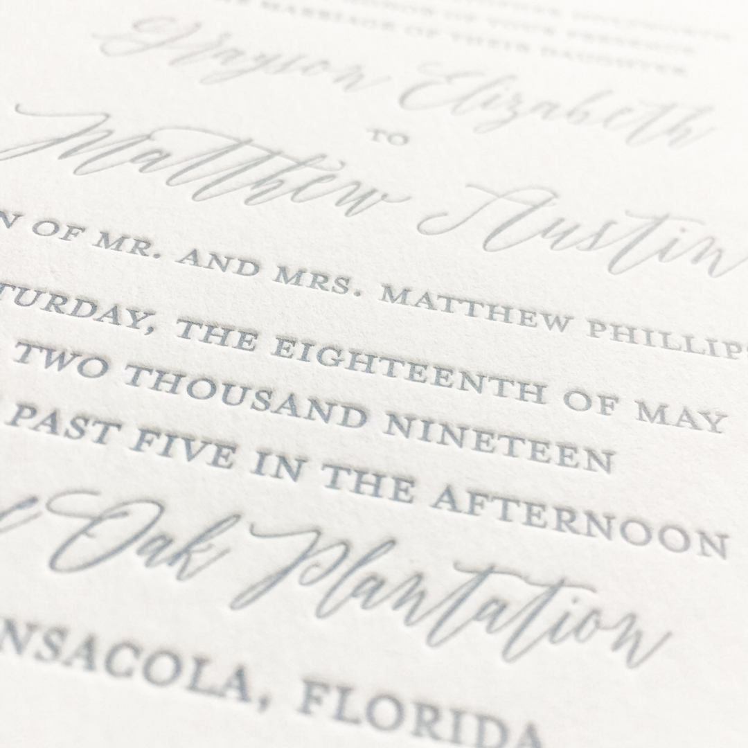 Little Fox Paperie provides three different wedding invitation printing methods. Letterpress printing is a luxurious print method that leaves an ink impression in the paper.