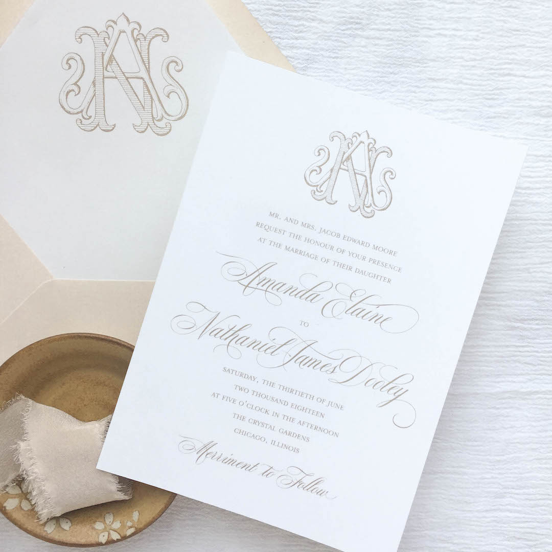 This invitation suite features a hand drawn vintage monogram which is an upgrade in the wedding collection. The wedding collection is made up of a traditional layout and artful elements to tailor your wedding invitation to your style. Available in digital printing, letterpress, and foil stamping. Custom wedding invitations by Little Fox Paperie.