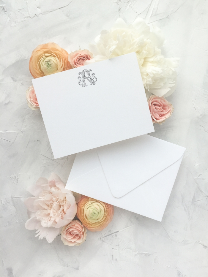 This thank you card features a hand drawn vintage monogram which is an upgrade in the wedding collection. The wedding collection is made up of a traditional layout and artful elements to tailor your wedding invitation to your style. Available in digital printing, letterpress, and foil stamping. Custom wedding invitations by Little Fox Paperie.