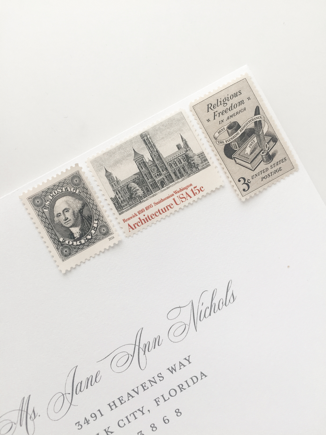 Including the proper amount of wedding invitation postage is incredibly important. Vintage stamps are one of three options for your postage. | Custom wedding invitations by Little Fox Paperie | Chicago, Illinois | Gracie Nunez