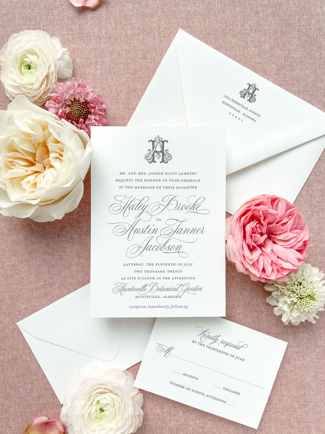 This invitation suite features a floral illustration from the wedding collection. The wedding collection is made up of a traditional layout and artful elements to tailor your wedding invitation to your style. Available in digital printing, letterpress, and foil stamping. Custom wedding invitations by Little Fox Paperie.
