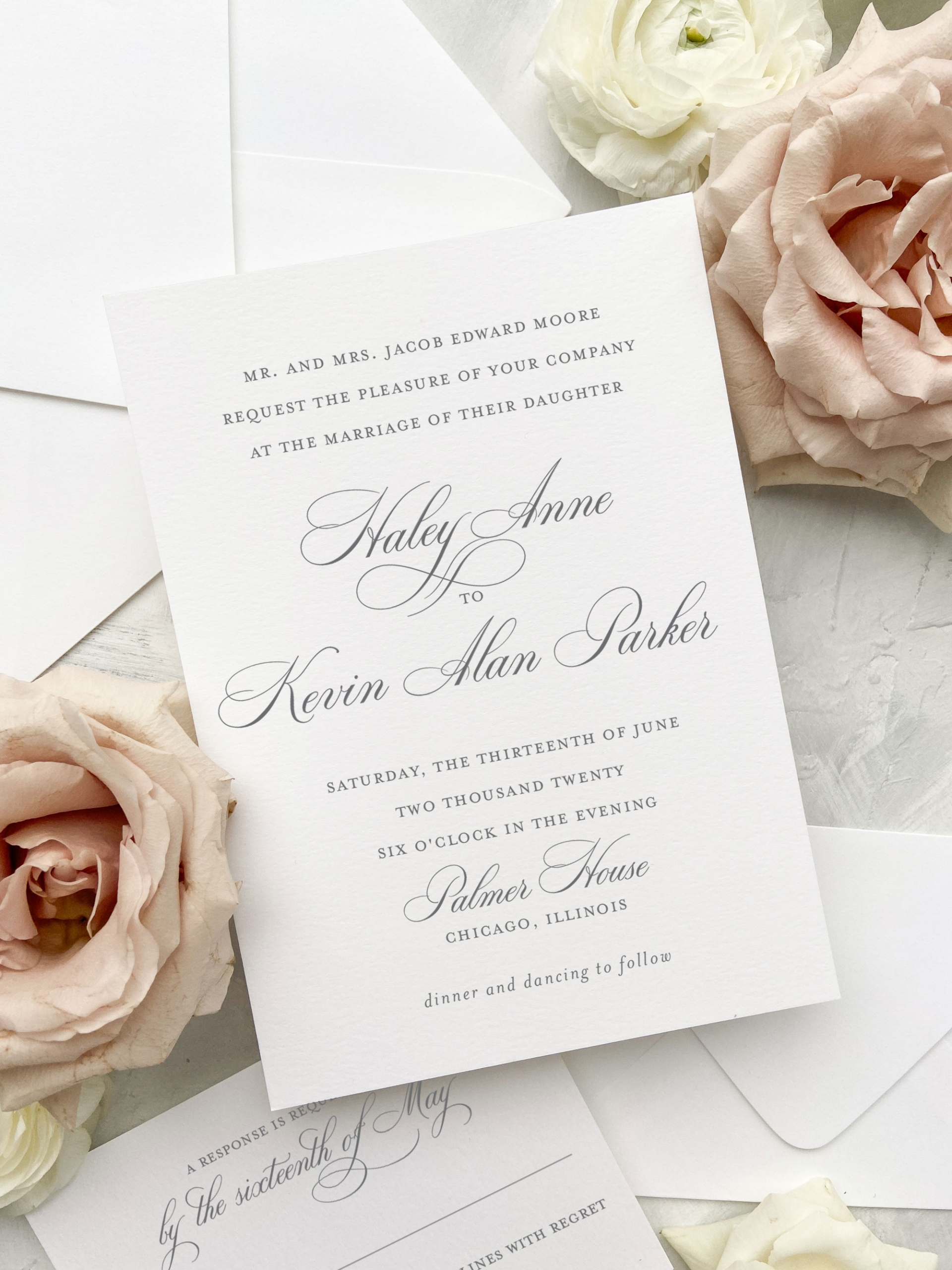 Classic script font wedding invitation. The wedding collection is made up of a traditional layout and artful elements to tailor your wedding invitation to your style. Available in digital printing, letterpress, and foil stamping. Semi-custom wedding invitations by Little Fox Paperie.