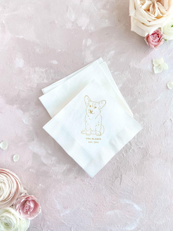 Custom pet illustration wedding cocktail napkins. Gold foil corgi drawing.