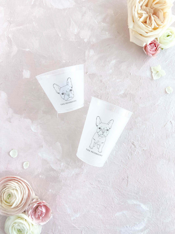 Custom pet illustration wedding frost cups. French bulldog drawing.