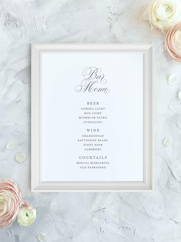 Wedding bar menu with elegant script font. Beer, wine, signature cocktails menu.