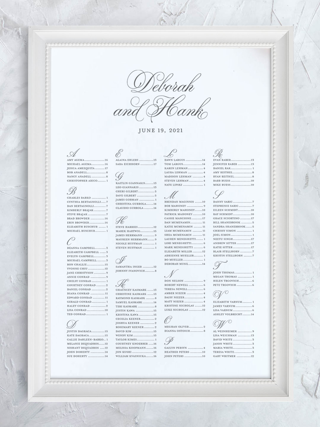 Wedding seating chart with fancy script names organized alphabetically.