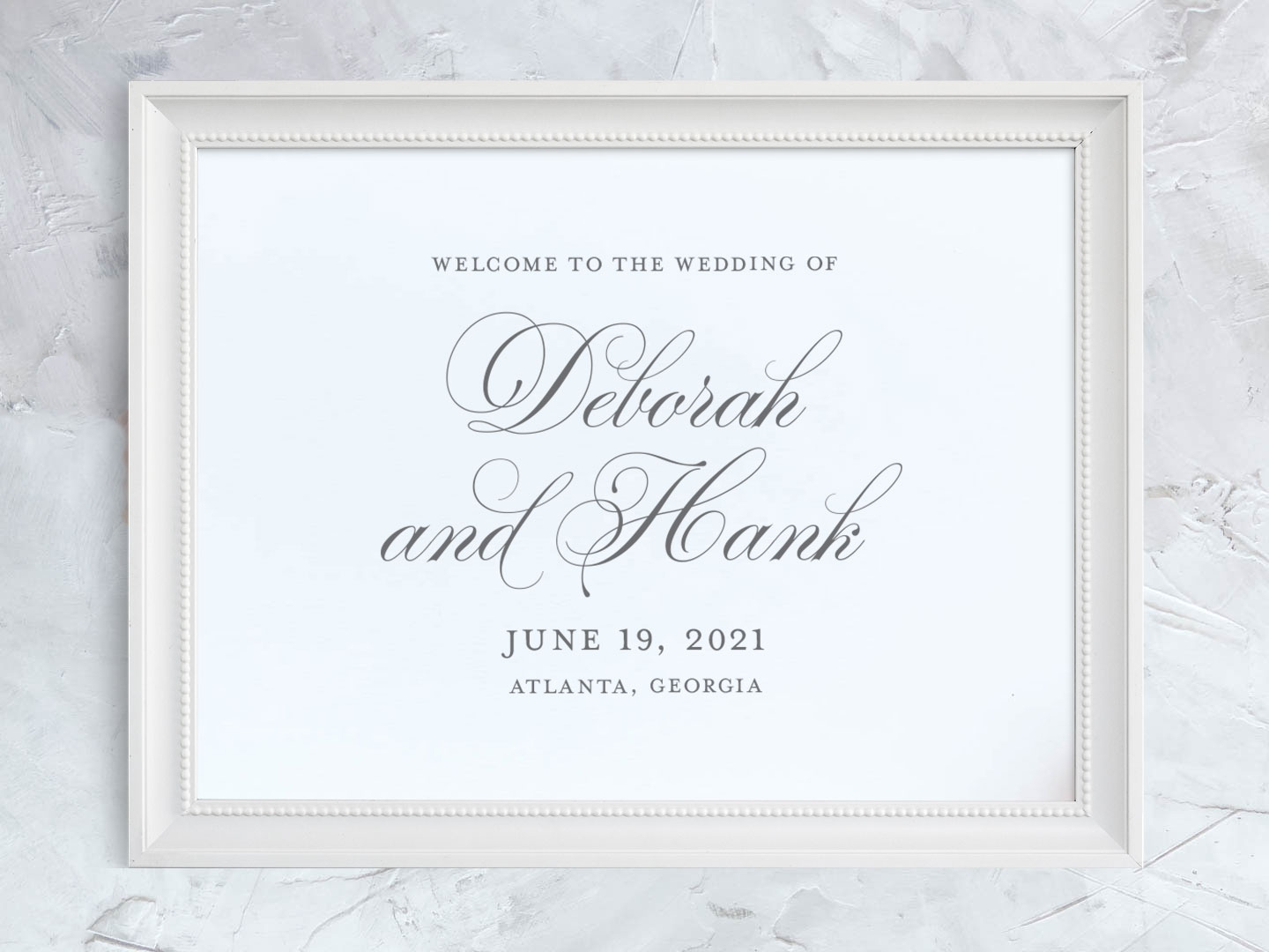Wedding welcome sign with elegant script font.