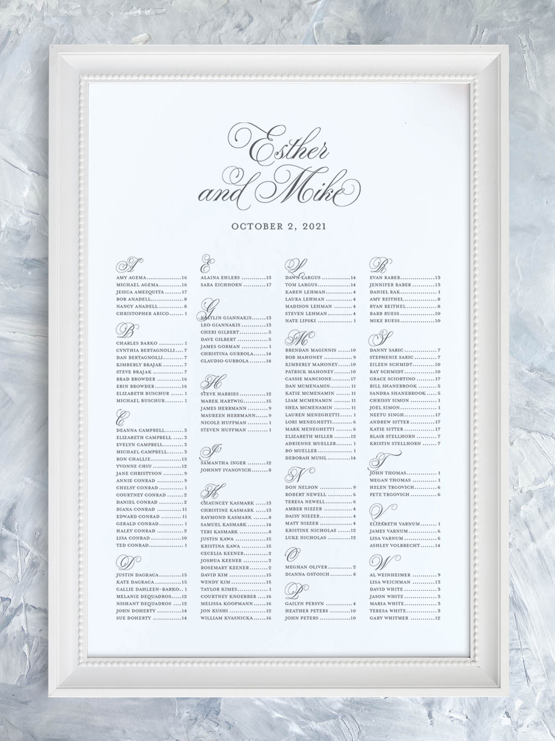 Wedding seating chart with flourished script font organized alphabetically.