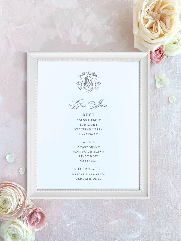 Wedding bar menu with crest and vintage monogram. Beer, wine, signature cocktails menu.