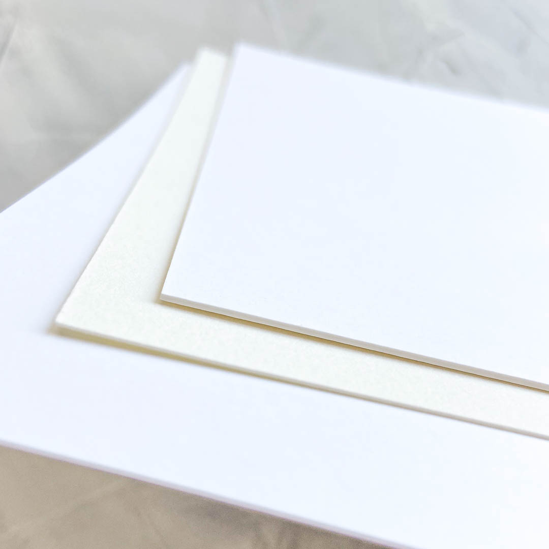 Paper types - white, ivory, single-thick, and double-thick