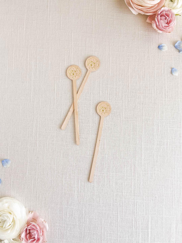 Pet illustration wedding stir sticks. Goldendoodle drawing. Gold foil stamped wooden stir sticks.