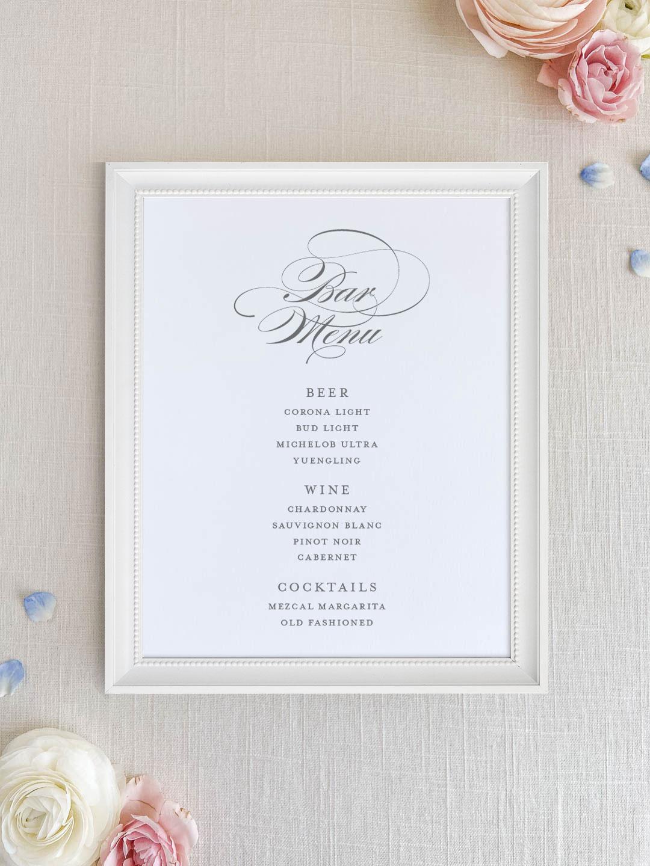 Wedding bar menu with flourished formal script font. Beer, wine, signature cocktails menu.