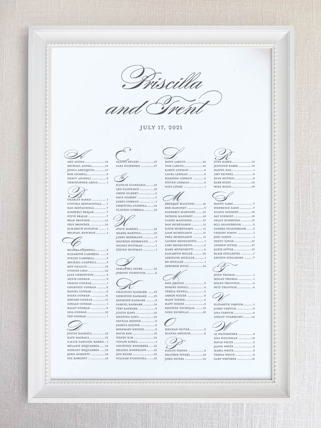 Wedding seating chart with formal script font organized alphabetically.