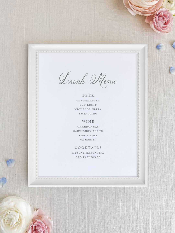 Wedding bar menu with romantic script font. Beer, wine, signature cocktails menu.