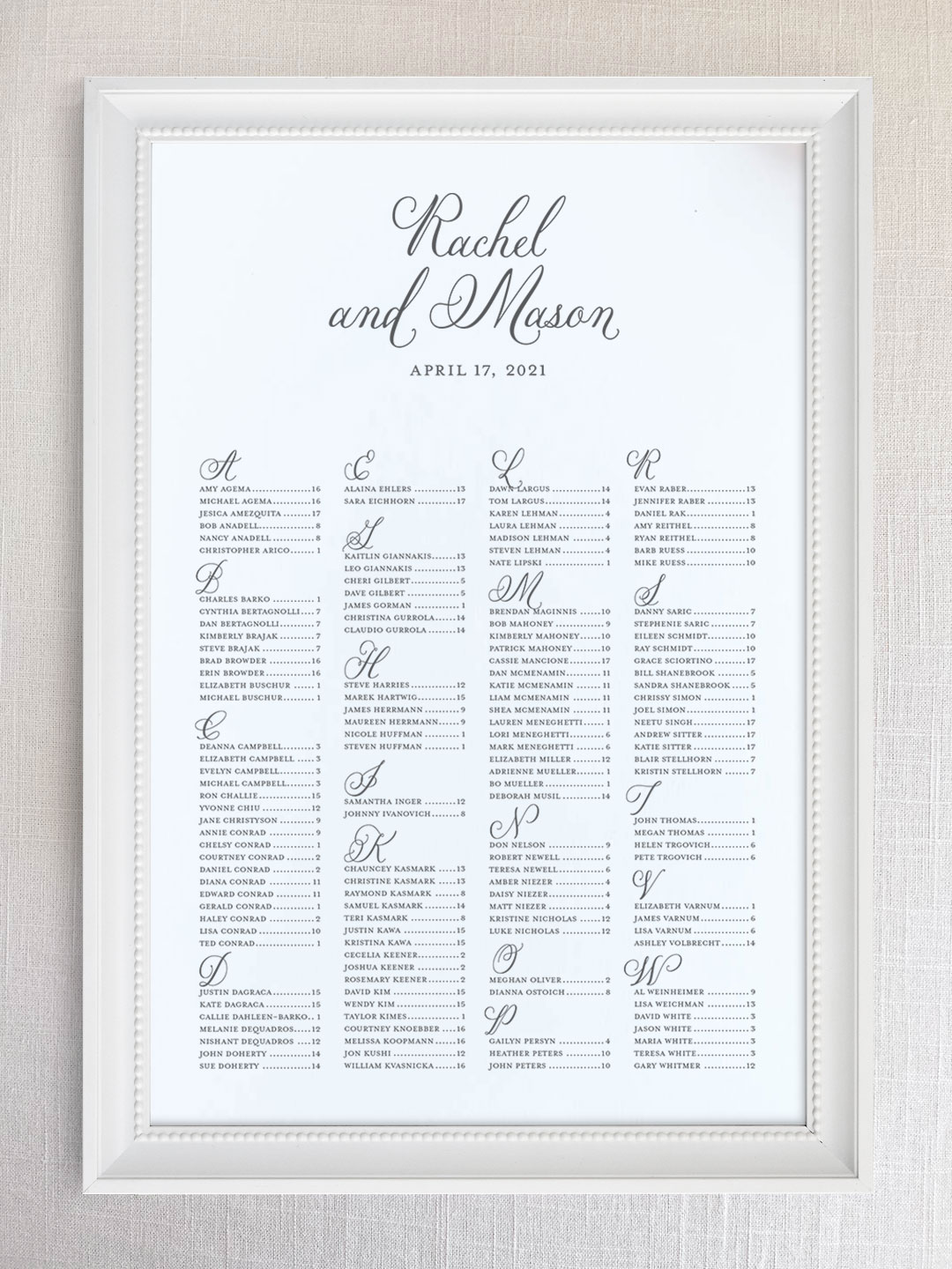 Wedding seating chart with romantic garden party script font organized alphabetically.