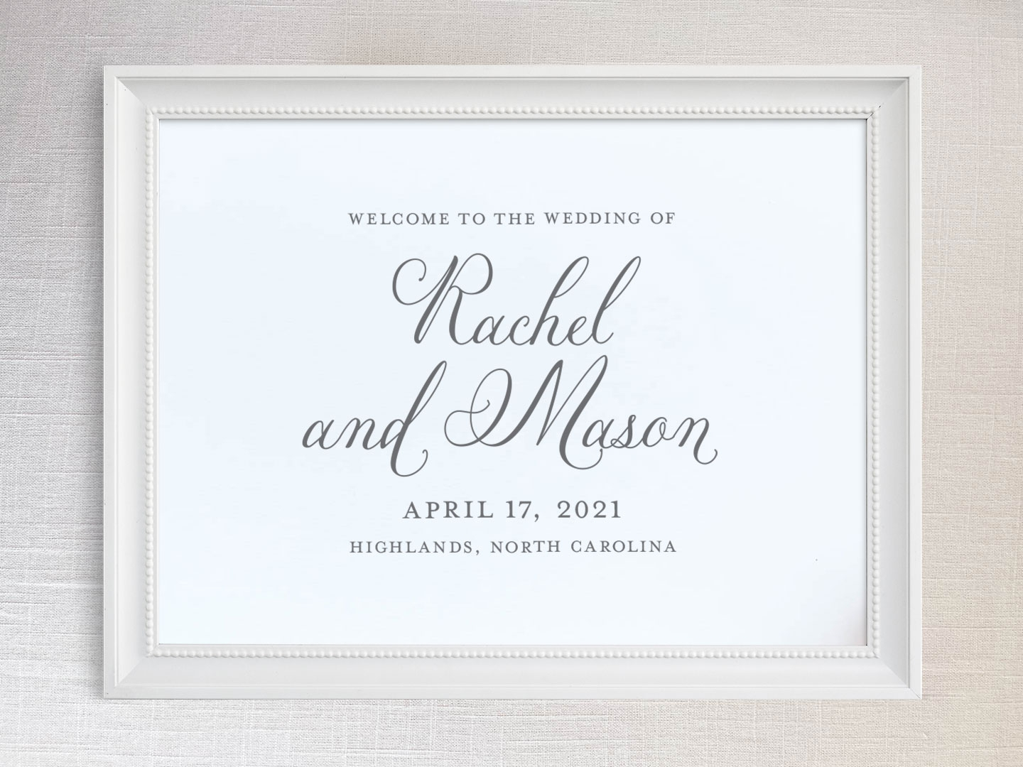 Wedding welcome sign with romantic garden party script font.