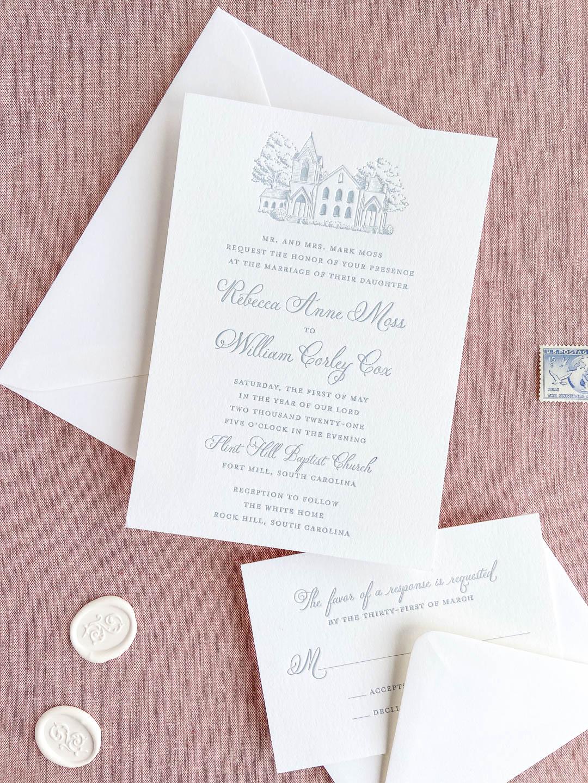 Dusty blue letterpress wedding invitations with custom venue illustration on white paper. Letterpress RSVP card. South Carolina wedding.