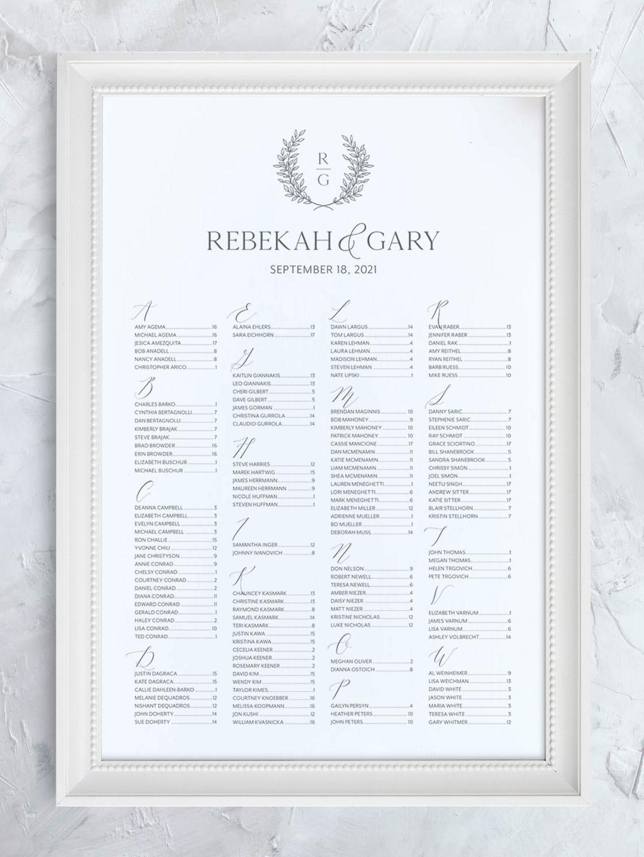 Wedding seating chart with greenery wreath and modern monogram organized alphabetically.