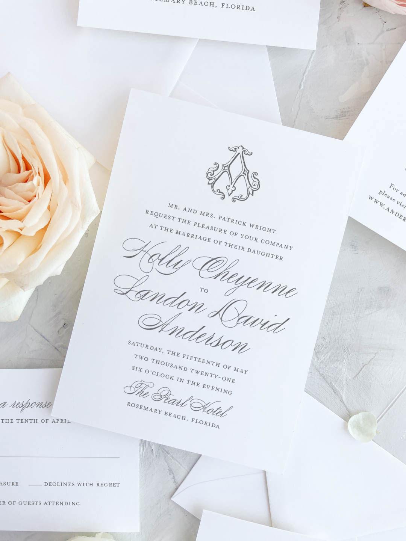 Single monogram wedding invitation. Custom monogram invitation.
