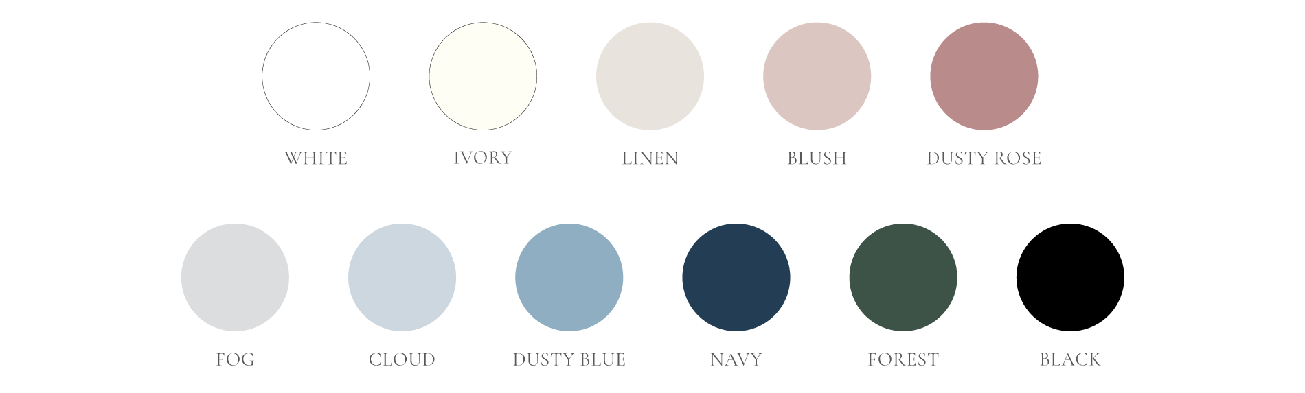 Envelope colors - white, ivory, linen, blush, dusty rose, fog, cloud, dusty blue, navy, forest, and black.